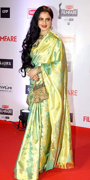 Bollywood actor Rekha during the 61st Britannia Filmfare Awards.