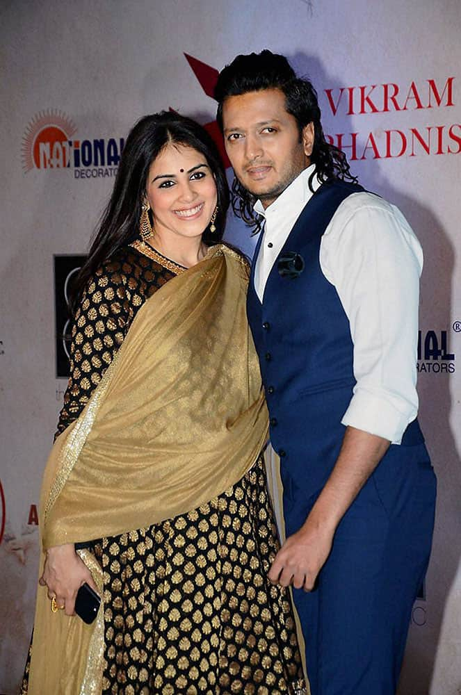 Bollywood actor Riteish Dehmukh with wife Genelia Dsouza at a function as Vikram Phadnis celebrates 25 years of designing in Mumbai.