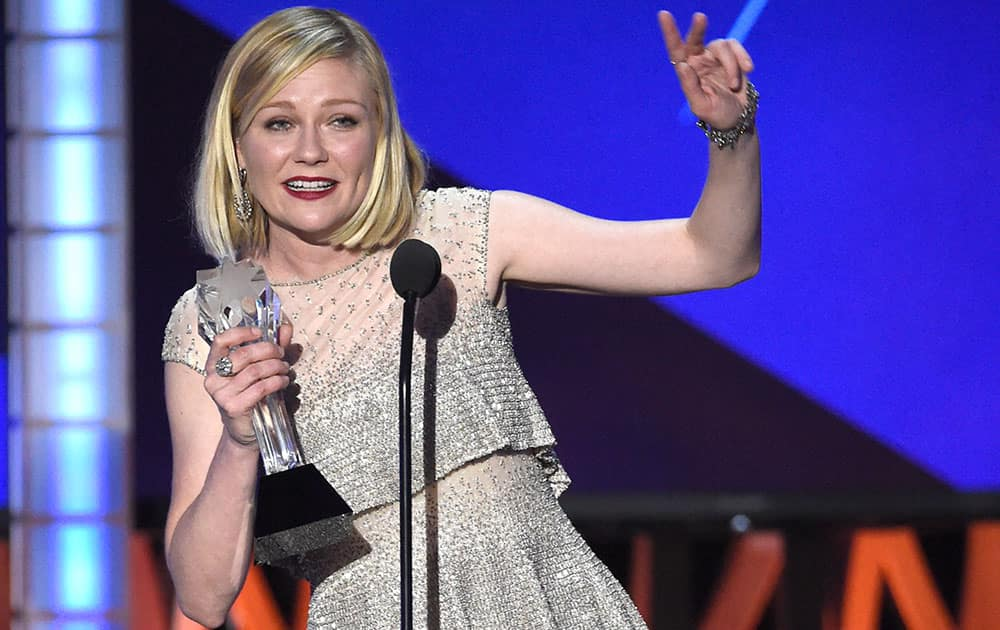 """Kirsten Dunst accepts the award for best actress in a movie made for television or limited series for """"Fargo"""" at the 21st annual Critics' Choice Awards."""