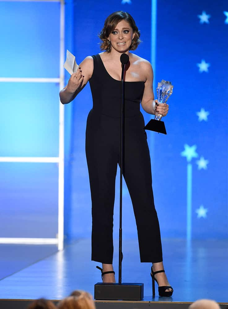 """Rachel Bloom accepts the award for best actress in a comedy series for """"Crazy Ex-Girlfriend"""" at the 21st annual Critics' Choice Awards."""