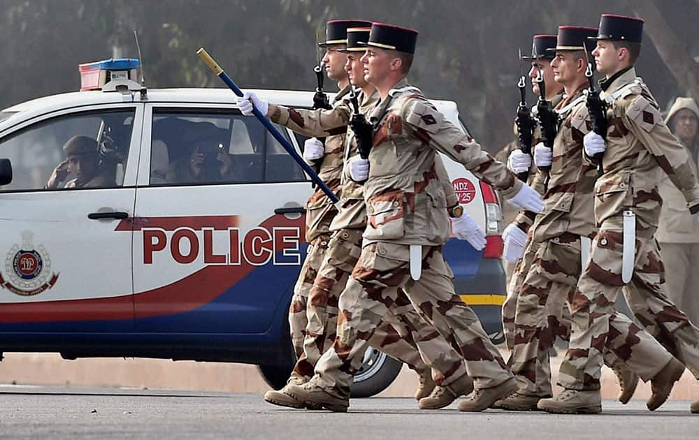 French soldiers march during a rehearsal for the Republic Day Parade at Rajpath in New Delhi.