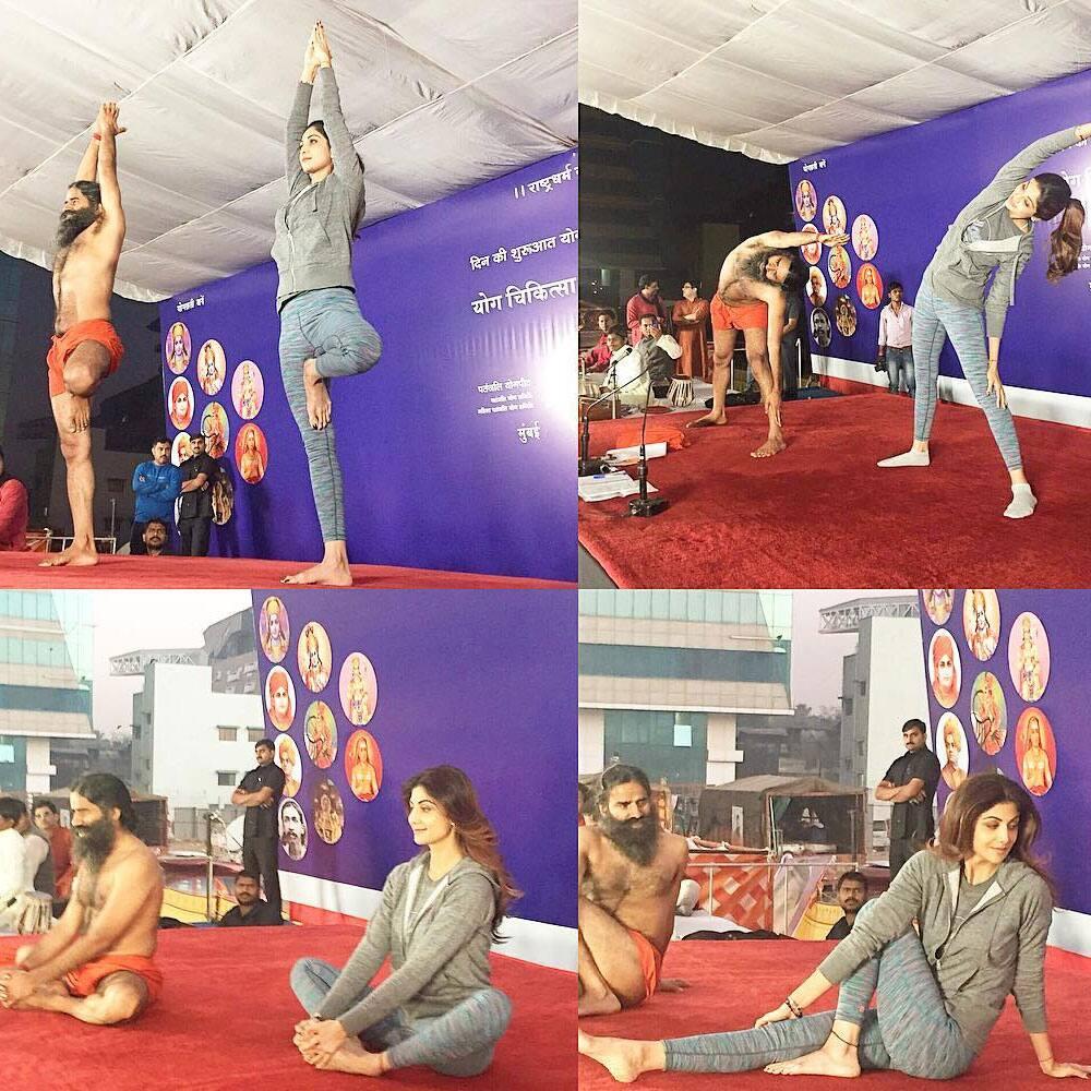 SHILPA SHETTY KUNDRA :- officialshilpashettyMorning Yoga session with #Baba Ramdev. #yoga #welness #energy -instagram