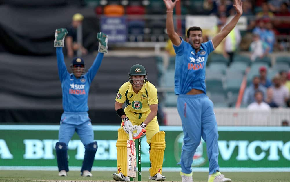 David Warner watches as Indian bowler Rishi Dhawan and wicketkeeper MS Dhoni appeal for an LBW during their One Day International cricket match in Canberra, Australia.