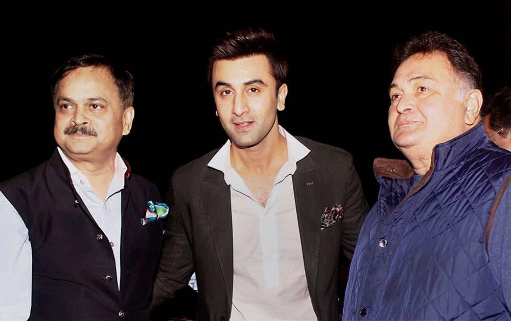 Mumbai Police Commissioner Javed Ahmed with Bollywood actors Rishi Kapoor and Ranbir Kapoor during the Umang Mumbai Police Show 2016.