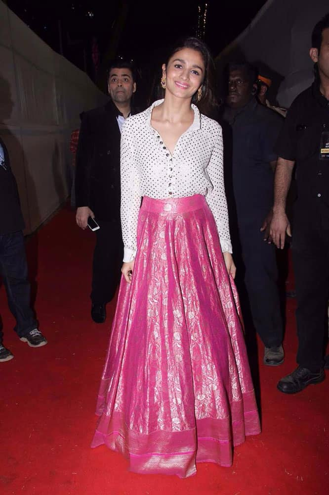 Manish Malhotra :- trendsetter @aliaa08 in a Ivory Badla Shirt and.Brocade skirt from REGAL THREAD'S Collection styled by @stylebyami -twitter