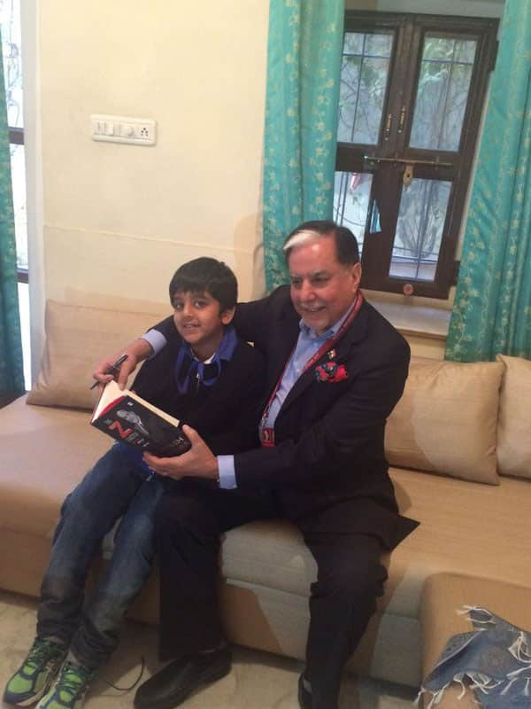 One of the most gratifying experience for an author. Signing the copies of his autobiography for his grandchildren. - Twitter@_SubhashChandra