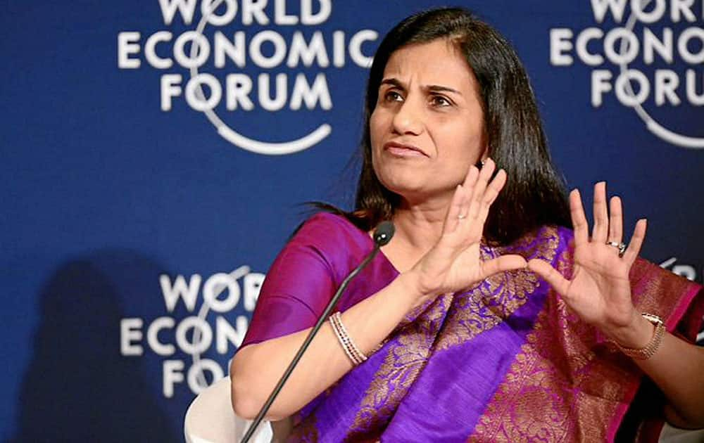 Chanda Kochhar, Managing Director and Chief Executive Officer of ICICI Bank speaks during a session at the World Economic Forum in Davos, Switzerland.