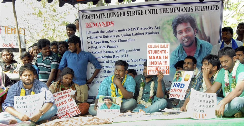 Students protesting after the suicide of dalit student Rohith Vemula at Hyderabad Central University in Hyderabad.