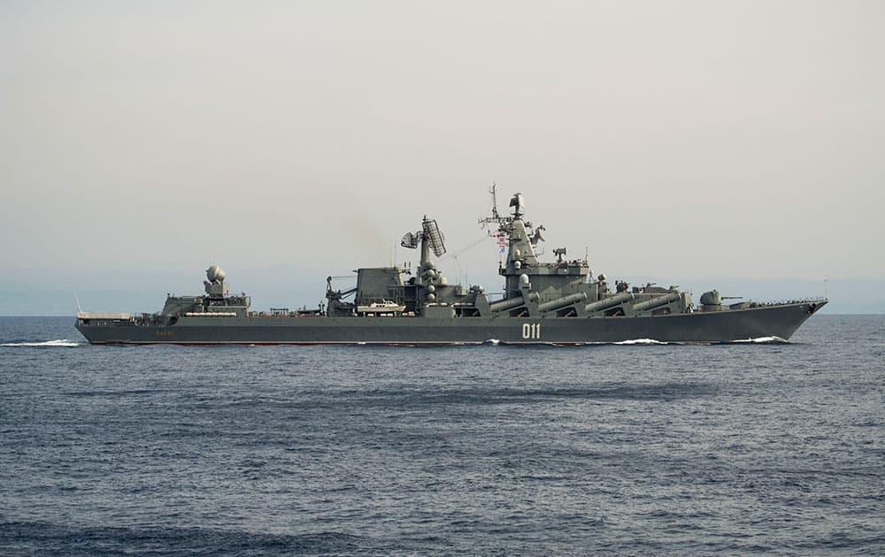 The Russian navy missile cruiser Varyag on patrol in eastern Mediterranean.