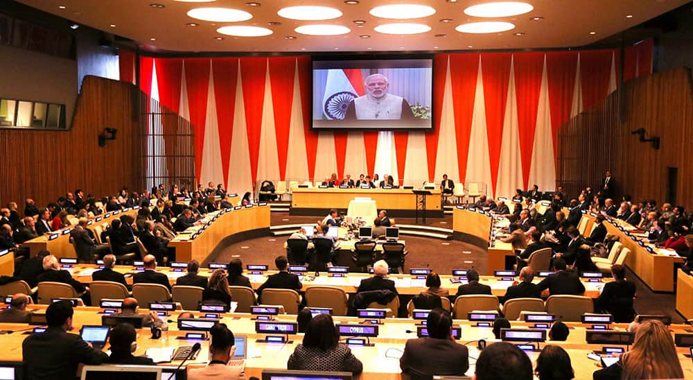 Prime Minister Narendra Modi delivers keynote address (via video call) to the Economic and Social Council (ECOSOC) of the UN in New York.