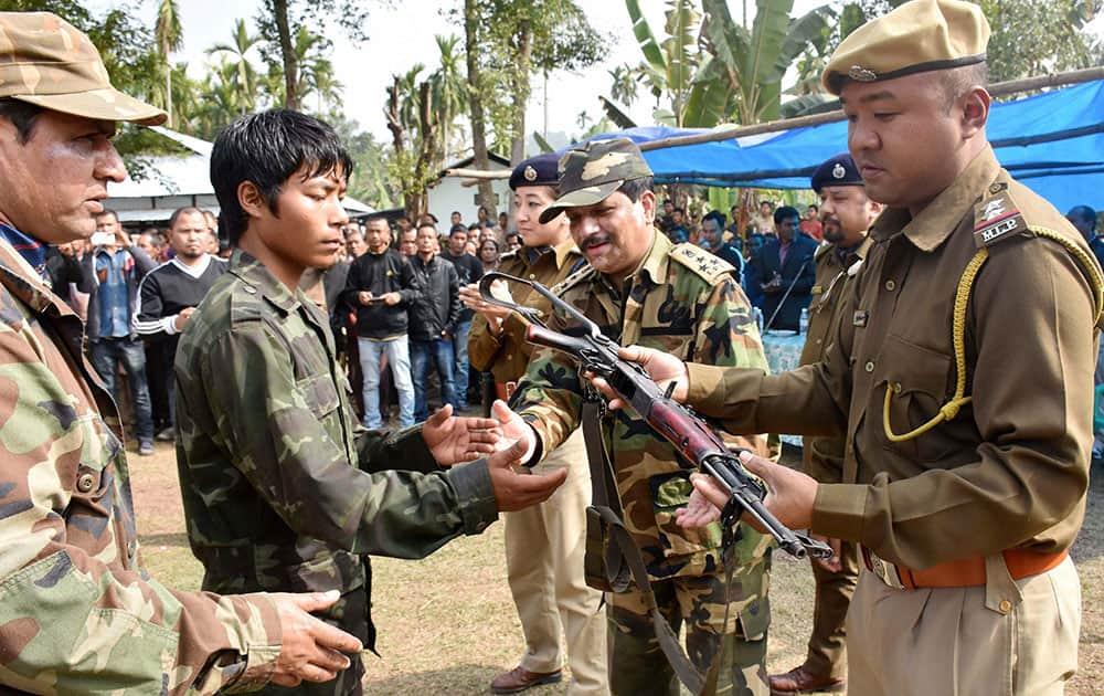 Millitants of A'chik Matkrik Elite Force (AMEF) surrender in Samrak Village of North Garo Hills in Meghalaya.