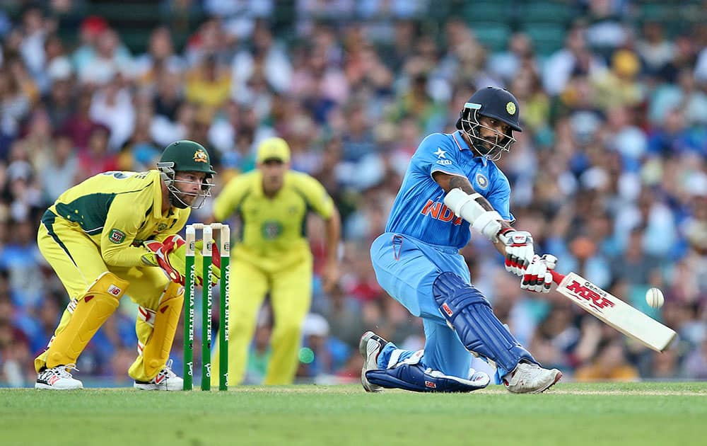 Shikhar Dhawan plays a shot during their one-day international cricket match against Australia in Sydney.