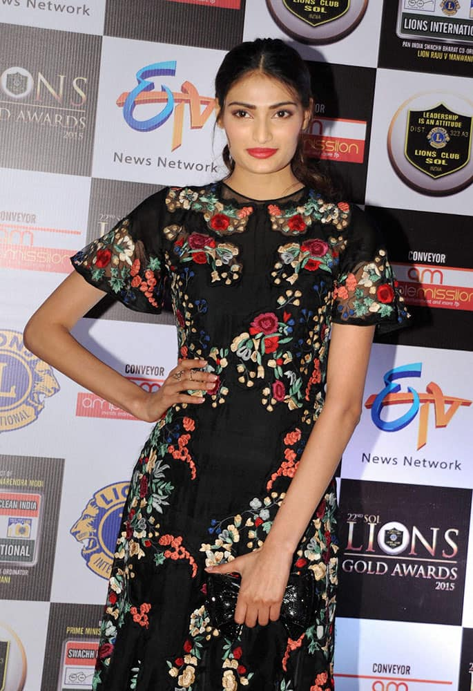 Bollywood actor Athiya Shetty during the 22nd Lions Gold Awards in Mumbai.