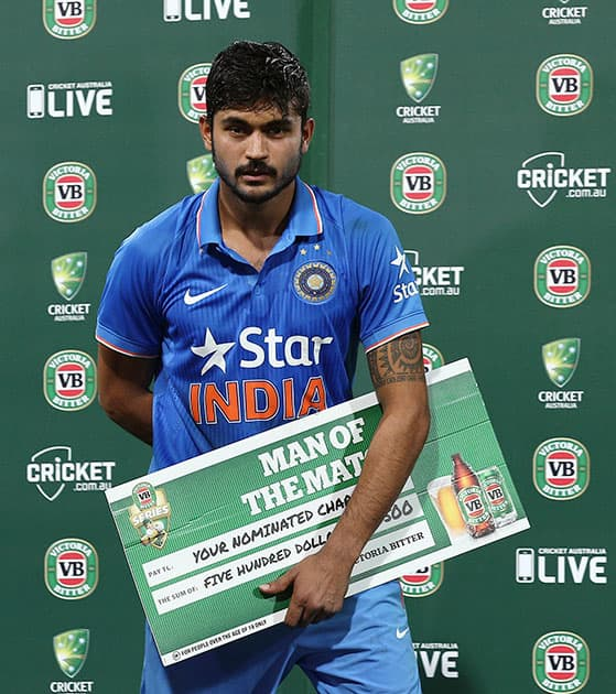 Manish Pandey awarded man of the match of their One Day International cricket match against Australia in Sydney, Australia.