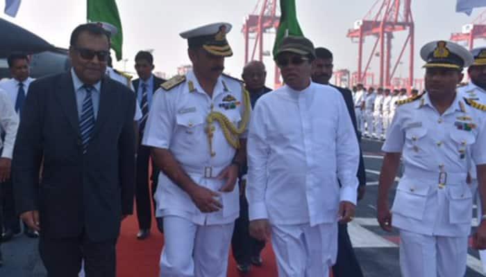 Sri Lankan President gets on board India's biggest warship INS Vikramaditya