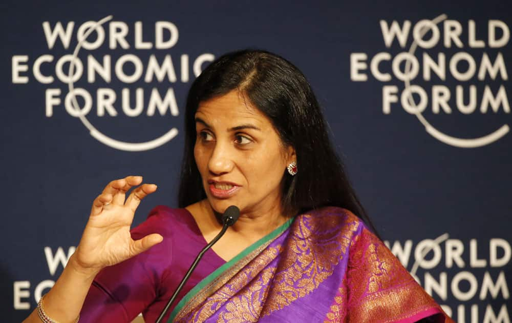 "Chanda Kochhar, Managing Director and Chief Executive Officer of ICICI Bank, speaks during a debate hosted by the Associated Press ""Regions in Transformation: South Asia"" at the World Economic Forum in Davos, Switzerland, Thursday, Jan. 21, 2016."