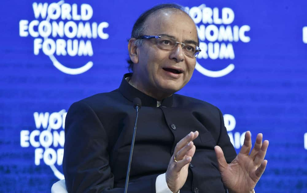 India's Finance Minister Arun Jaitley speaks during a pane