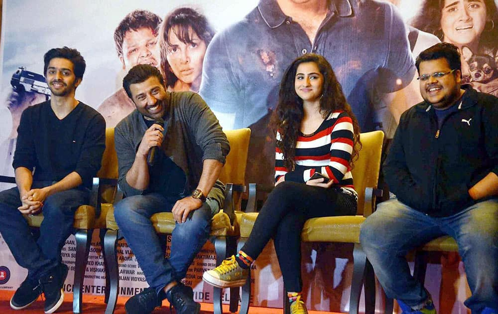 Actors Sunny Deol, Rishabh Arora, Shivam Patil and Diana Khan at a promotional event for their film Ghaya Once Again in Chandigarh.