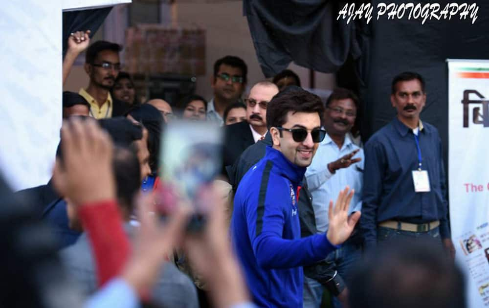 Ranbir Kapoor waves to fans before the ASFC charity match. -Twitter@RanbirKapoorFC