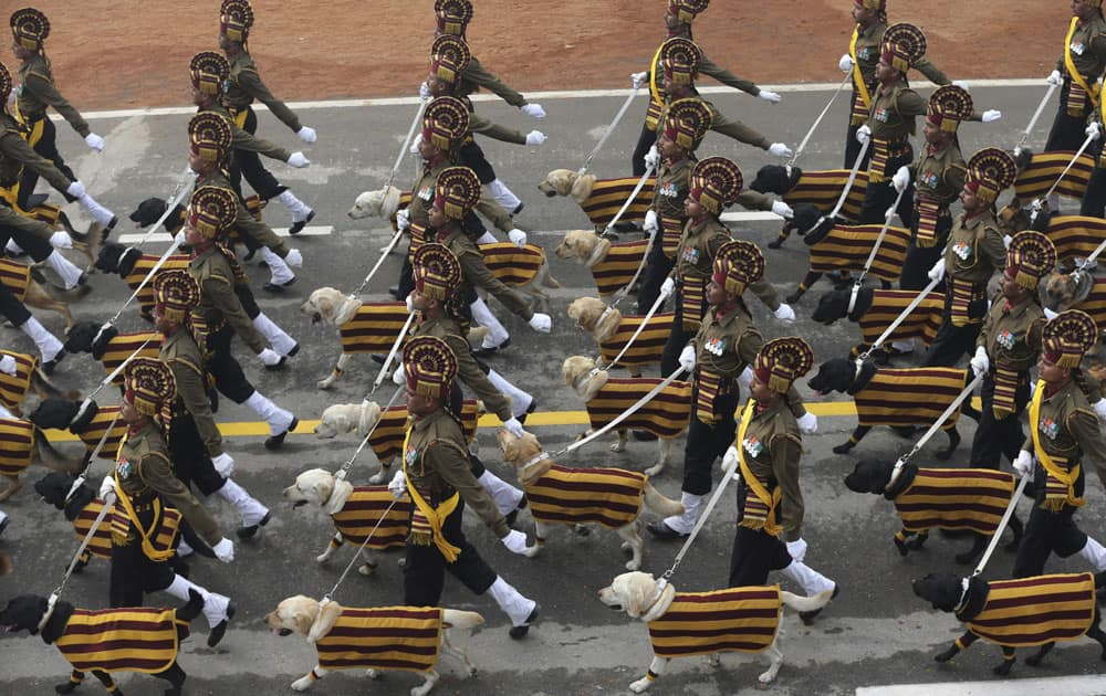 Indian army's dog squad march down Rajpath during the Republic Day parade in New Delhi.