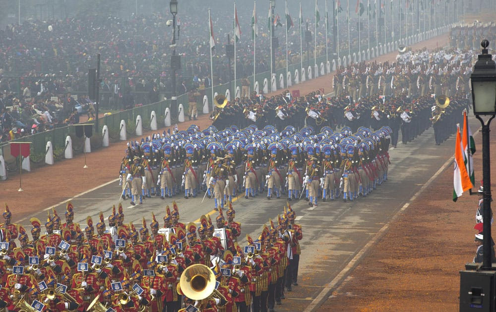 Indian security forces march during the Republic Day parade in New Delhi.