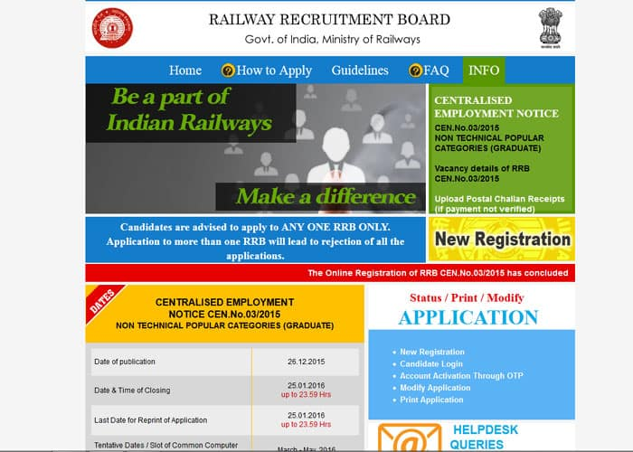 18,252 railway vacancies: Online registration concludes, exam likely in March