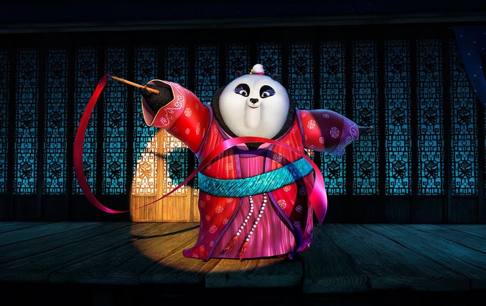 This image released by DreamWorks Animation shows character Mei Mei, voiced by Kate Hudson performing a ribbon dance in a scene from the animated film, Kung Fu Panda 3.