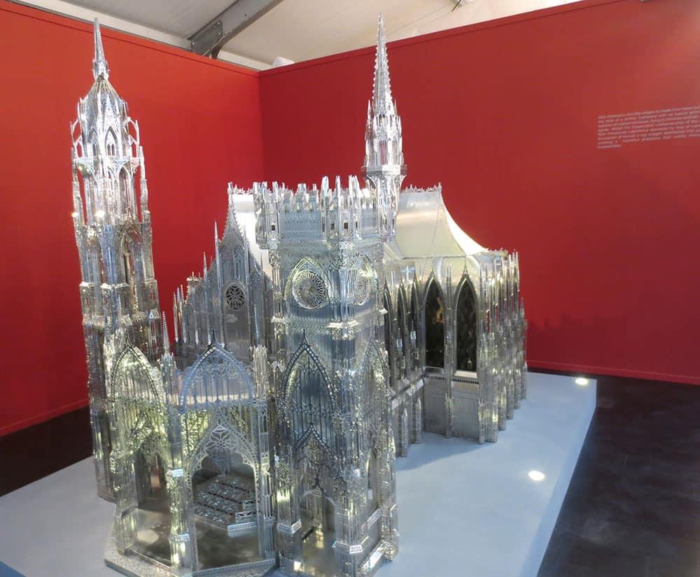 Wim Delvoye's laser cut steel installation 'intricate chapel'