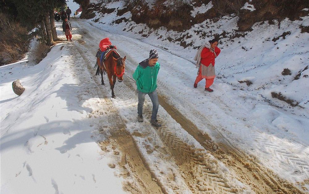 People walk on a snow-covered road after snowfall at Kufri near Shimla.