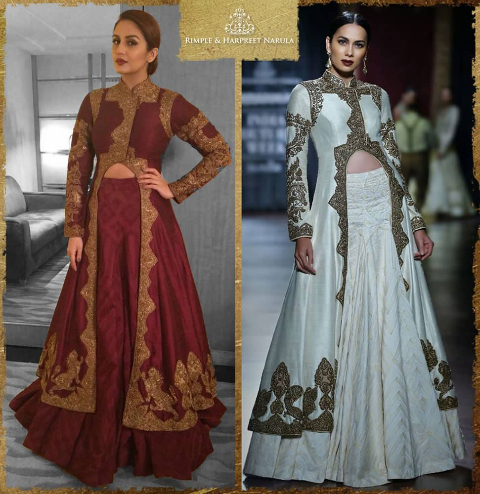 @humasqureshi looks marvellous in our ox blood ensemble at a recent event! -twitter@Rimple_Harpreet