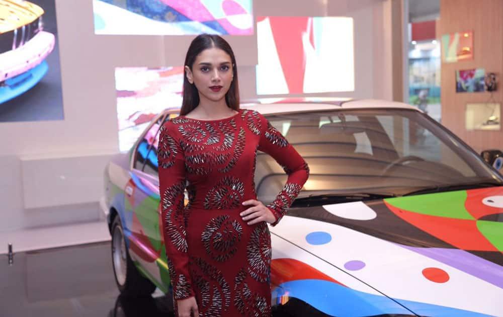 Aditi Rao Hydari :- Aesthetically pleasing is an understatement!The BMW Art Car by César Manrique literally moves u #BMWatIAF @bmwindia -twitter