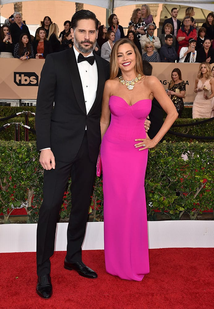 Joe Manganiello, left, and Sofia Vergara arrive at the 22nd annual Screen Actors Guild Awards at the Shrine Auditorium & Expo Hall  in Los Angeles.