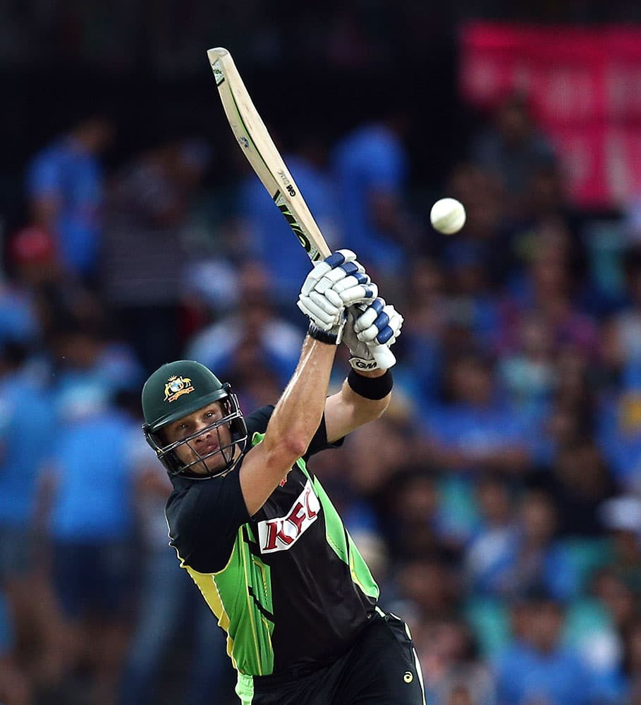 Australia's Shane Watson plays a shot during their T20 International cricket match against India in Sydney, Australia.