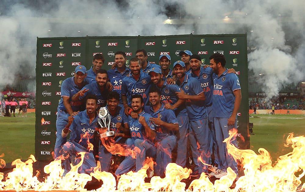 India Cricket team celebrates winning the T20 International cricket series against Australia in Sydney, Australia.