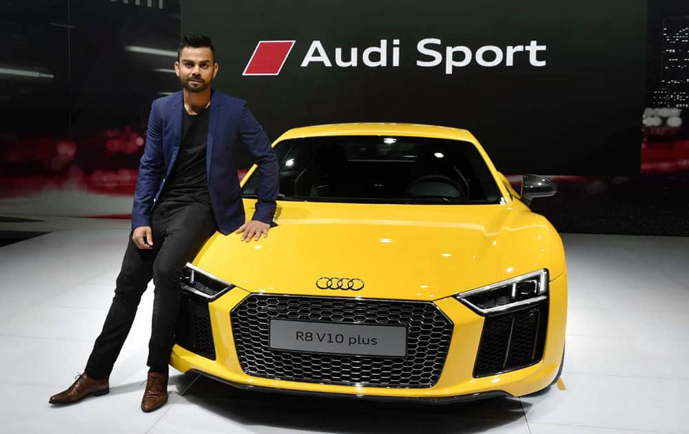 Indian Test captain Virat Kohli at the launch of Audis new sports car R8 V10 plus at Auto Expo 2016 in Greater Noida on Wednesday.