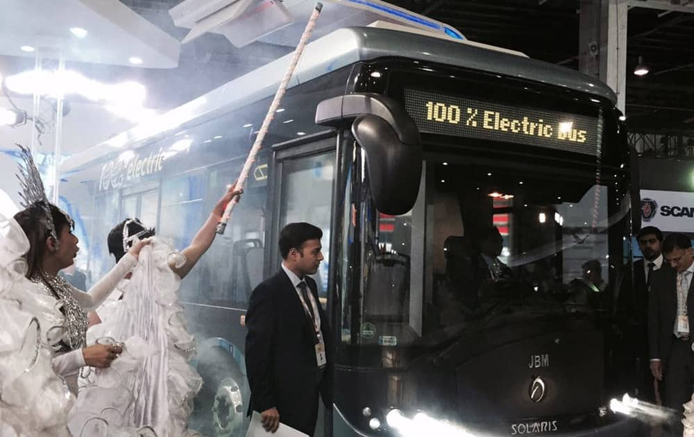 JBM Auto launches 100% electric bus ECOLIFE at the Auto Expo 2016.