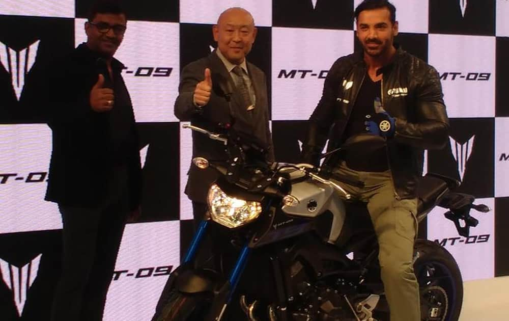 Actor John Abraham during the launch of new Yamaha motorbike at Auto Expo 2016 in Greater Noida on Thursday.