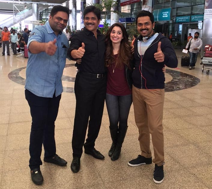 Last day of working with Karthi and tammanah for #oopiri/2 more days and i finish too! Twitter@iamnagarjuna