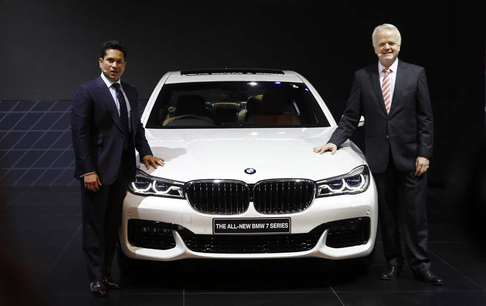 Former Indian cricketer Sachin Tendulkar at BMW 7series launch at the Auto Expo in Greater Noida, near New Delhi.