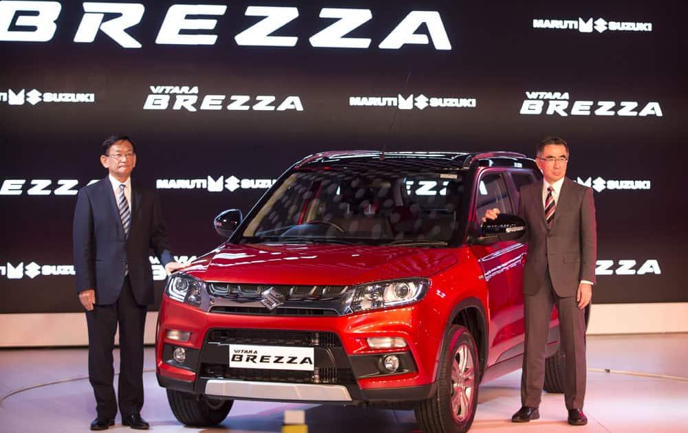 World launch of Maruti Suzuki Vitara Brezza compact SUV, at the Auto Expo in Greater Noida, near New Delhi.