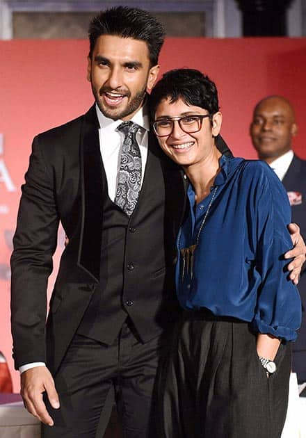 Actor Ranveer Singh and filmmaker Kiran Rao during an MoU signing ceremony between Maharashtra Film Stage & Cultural Development Corporation and City of Toronto in Mumbai.