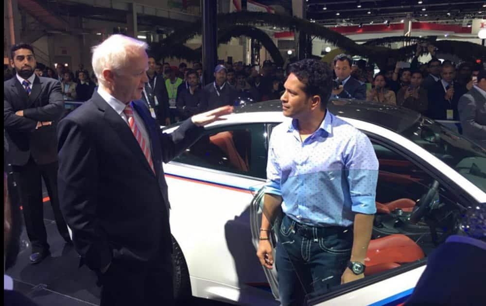 Indian cricket legend Sachin Tendulkar at the BMW pavilion at the Auto Expo 2016 (Pic Courtesy: @sachin_rt)