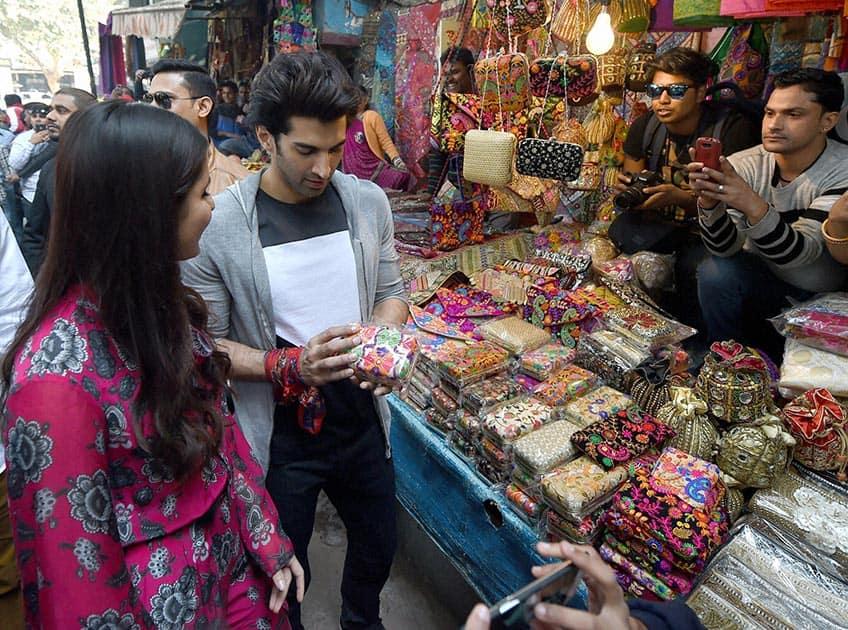 Actors Katrina Kaif and Aditya Roy Kapoor at Janpath Market to promote their upcoming film Fitoor in New Delhi.