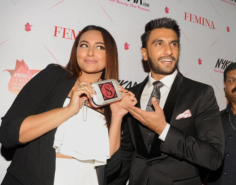 Actors Sonakshi Sinha and Ranveer Singh at the Femina Awards ceremony in Mumbai.