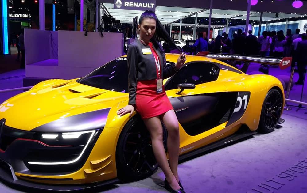 A model at Renault India stall during the Auto Expo 2016 at Greater Noida.