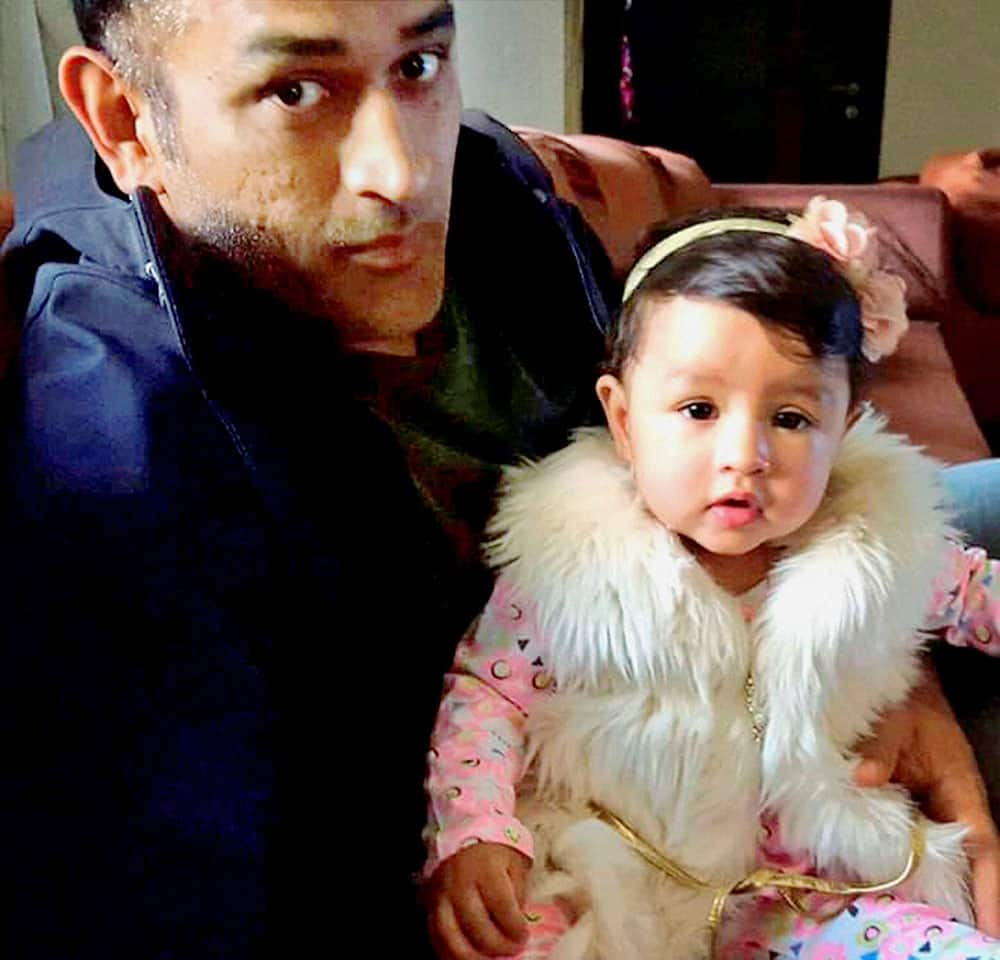 Cricketer Mahendra Singh Dhoni celebrating the first birthday of his daughter Ziva at his home Shourya in Ranchi, Jharkhand.