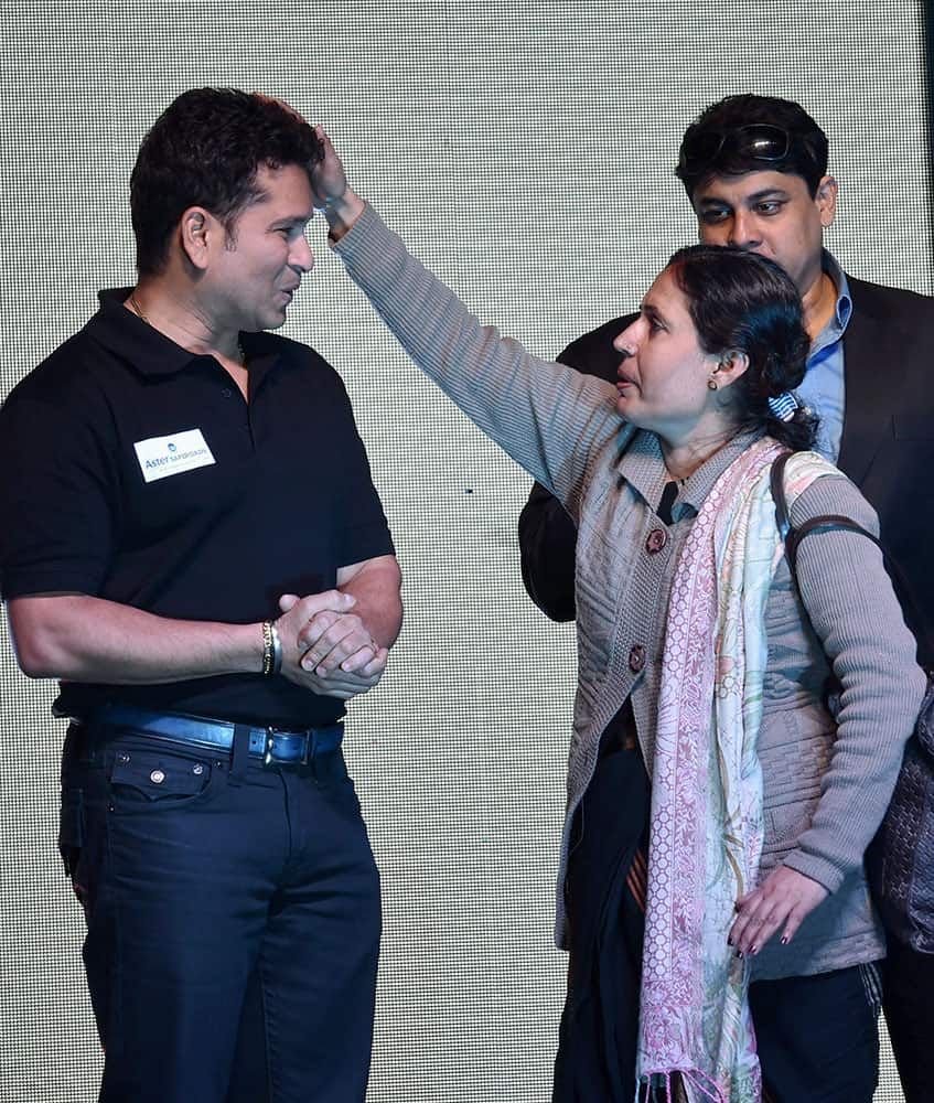Cricket legend Sachin Tendulkar at the launch of Aster SafeRoads campaign in New Delhi.