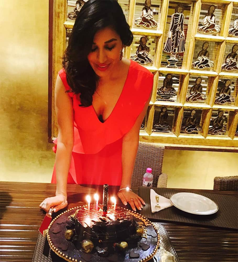 SOPHIE CHOUDRY :- Grateful for the year gone by & hopeful for a wonderful year ahead #b'day #happy #celebrate… -instagram