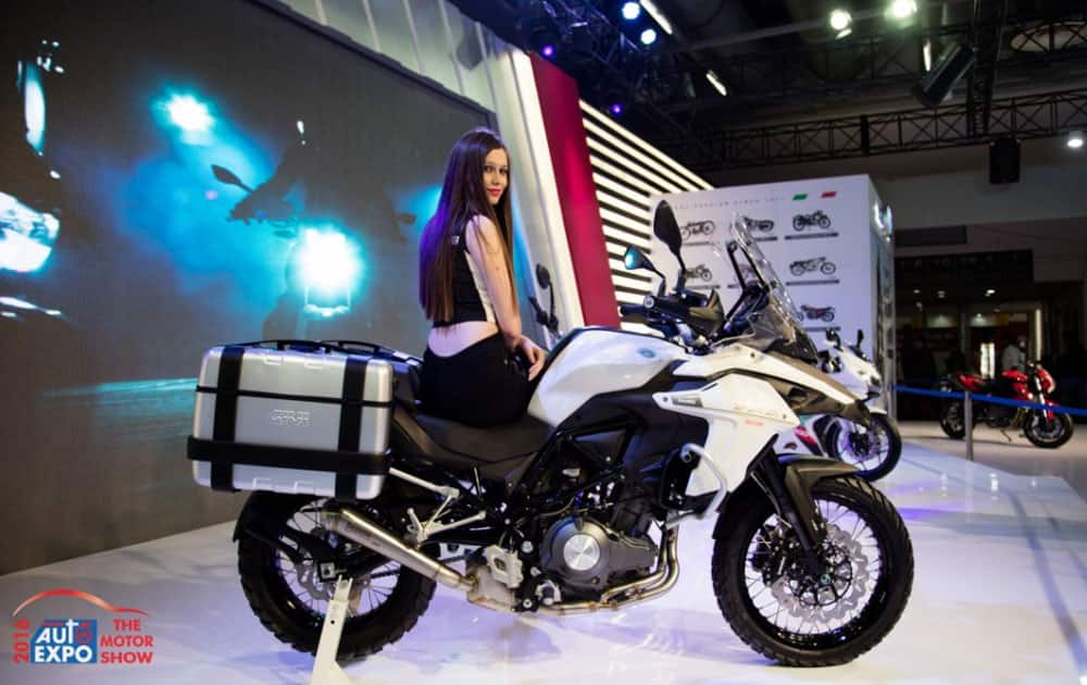 A model poses during the Auto Expo 2016 at Greater Noida.