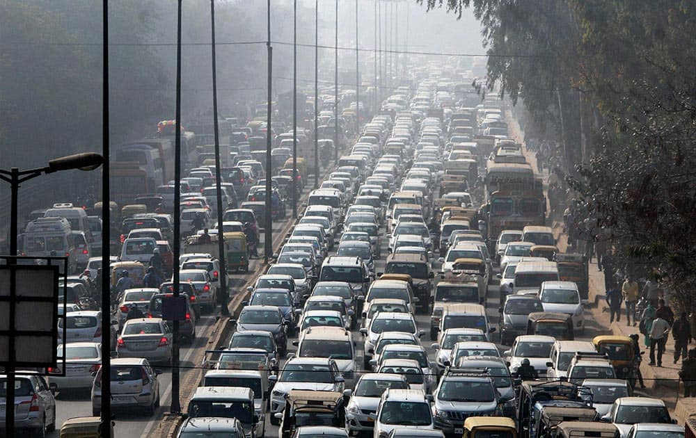 A view of heavy traffic jam on Gurgaon- Alwar National Highway in Gurgaon.